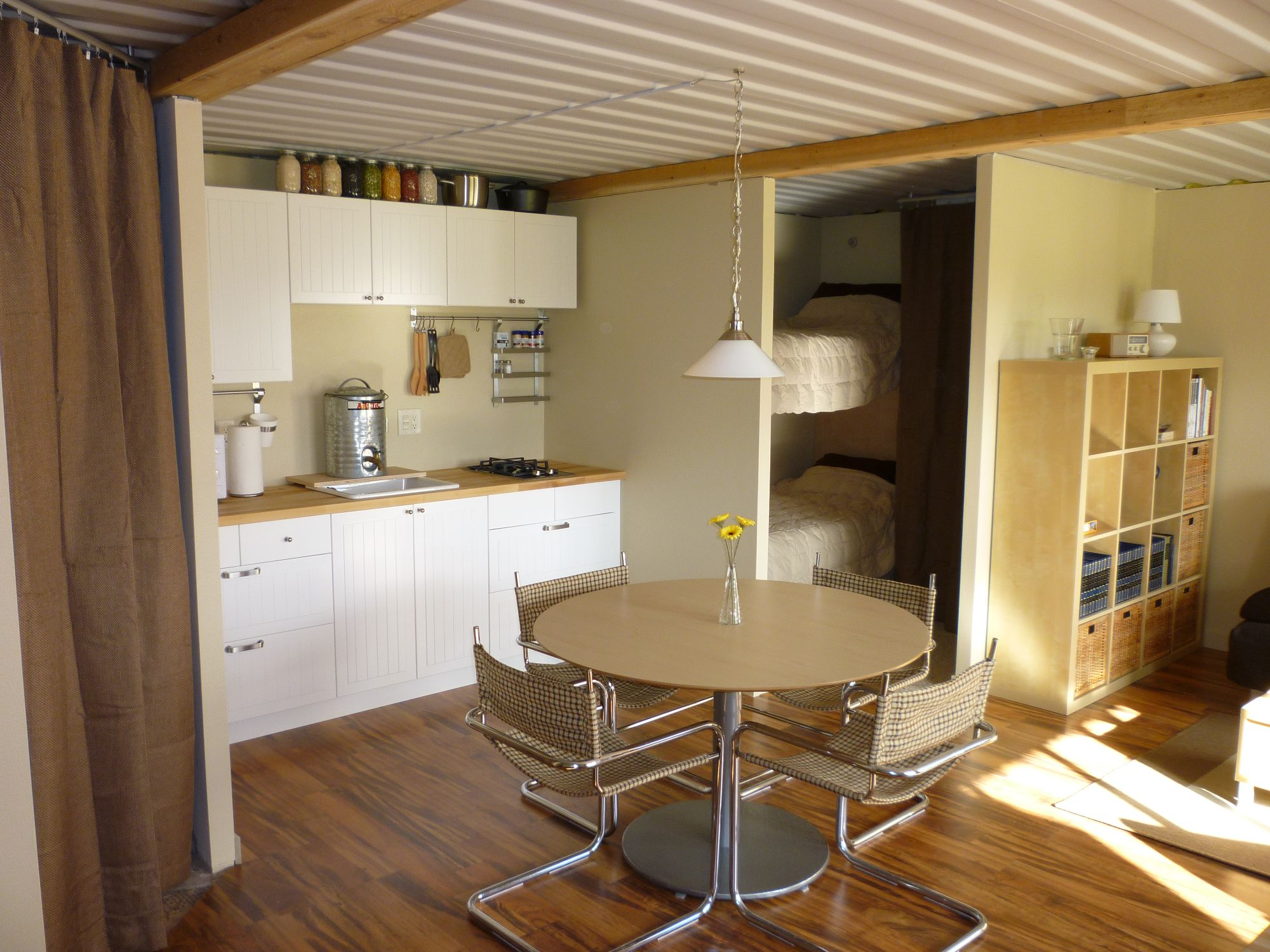 Kitchen with Temporary PlumbingTin Can Cabin